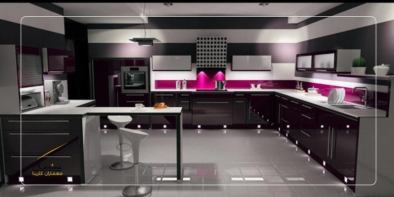 کابینت آشپزخانه صورتی