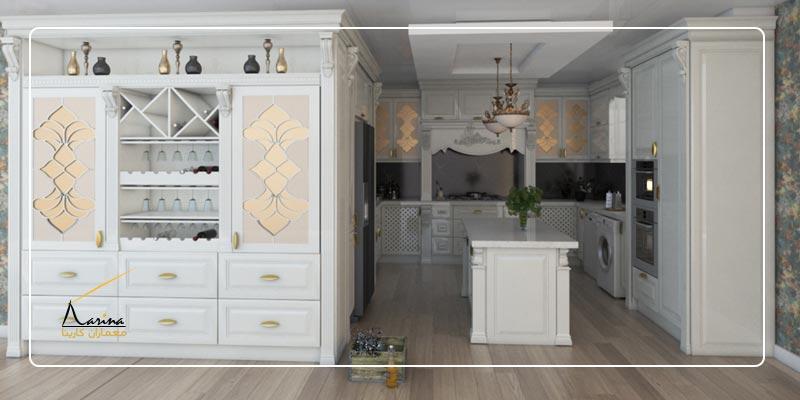 طراحی کابینت کلاسیک سفید
